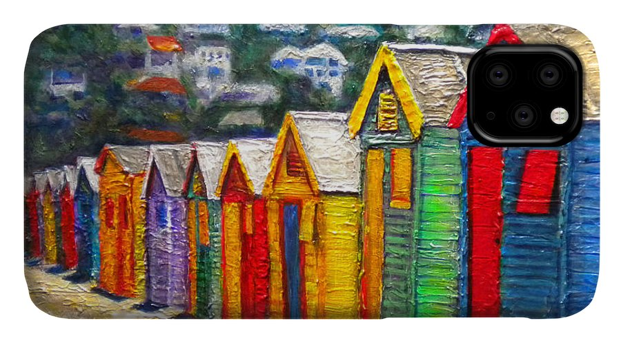 Beach IPhone Case featuring the painting Beach Houses At Fish Hoek by Michael Durst