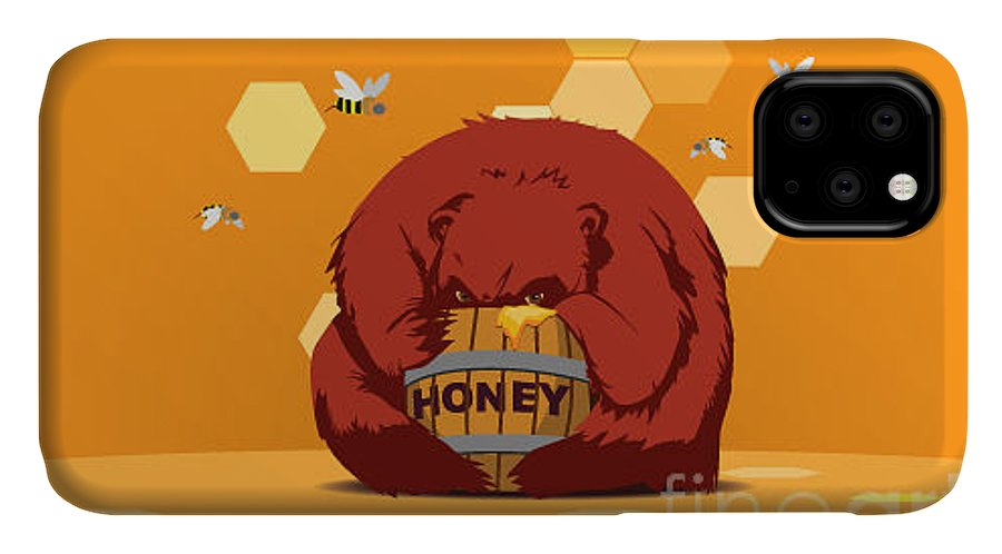 Lunch IPhone Case featuring the digital art Bear Eats Honey From Barrel Against by Funhare
