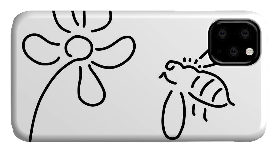 Illustration IPhone Case featuring the drawing Bee Honey Flower Blossom by Lineamentum
