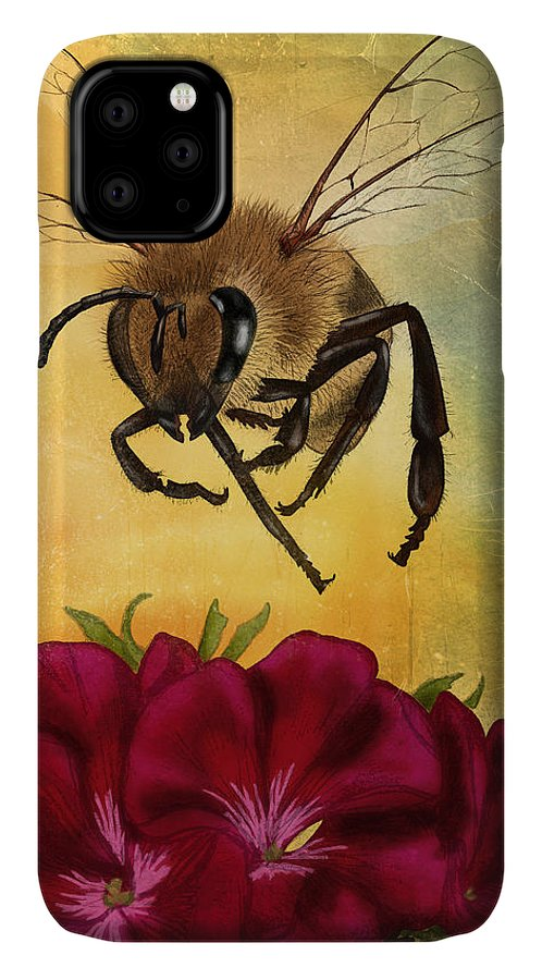 Bee IPhone Case featuring the digital art Bee I by April Moen