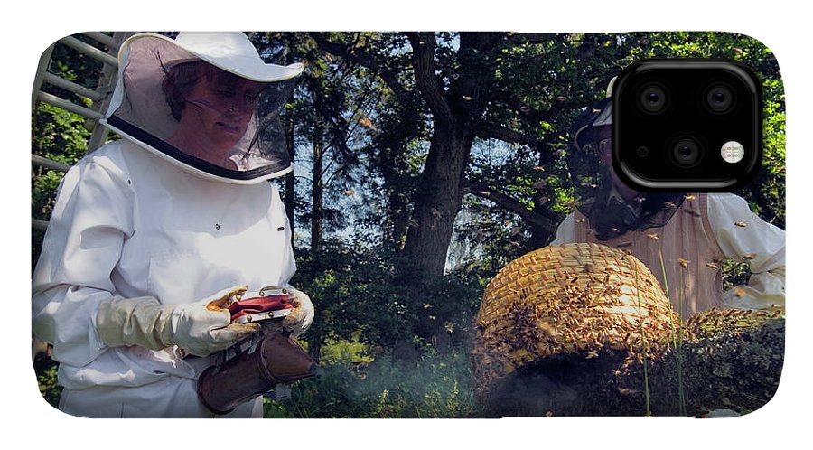 Apis Mellifera IPhone Case featuring the photograph Beekeepers Collecting Swarming Honeybees by Simon Fraser/science Photo Library