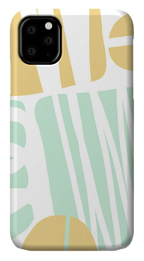 Abstract IPhone Case featuring the mixed media Bento 1- Abstract Shape Painting by Linda Woods