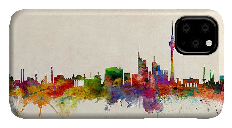 City Skyline IPhone 11 Case featuring the digital art Berlin City Skyline by Michael Tompsett