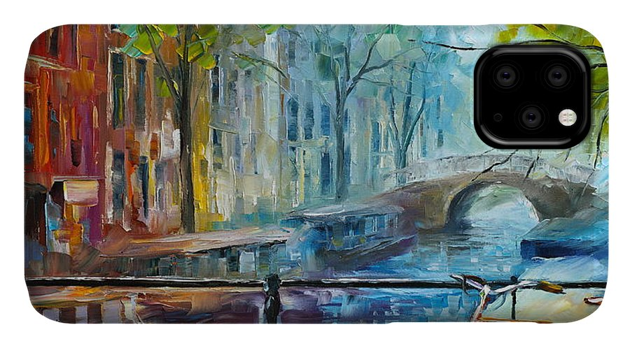 Amsterdam IPhone Case featuring the painting Bicycle in Amsterdam by Leonid Afremov