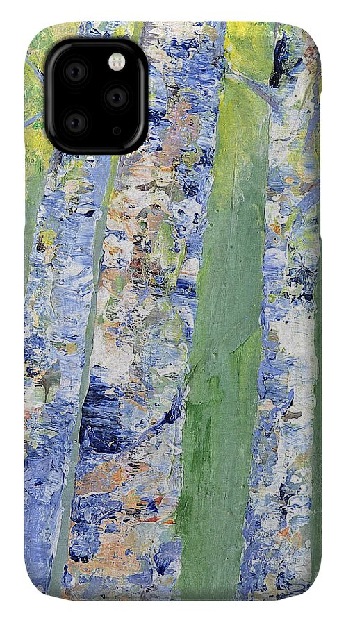 Birch IPhone 11 Case featuring the painting Birches by Claire Bull