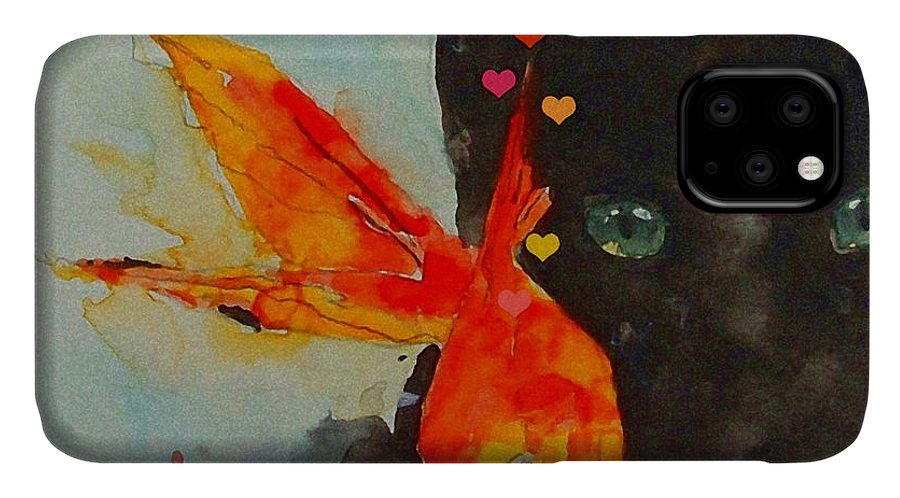 Black Cat IPhone Case featuring the painting Black Cat and the Goldfish by Paul Lovering