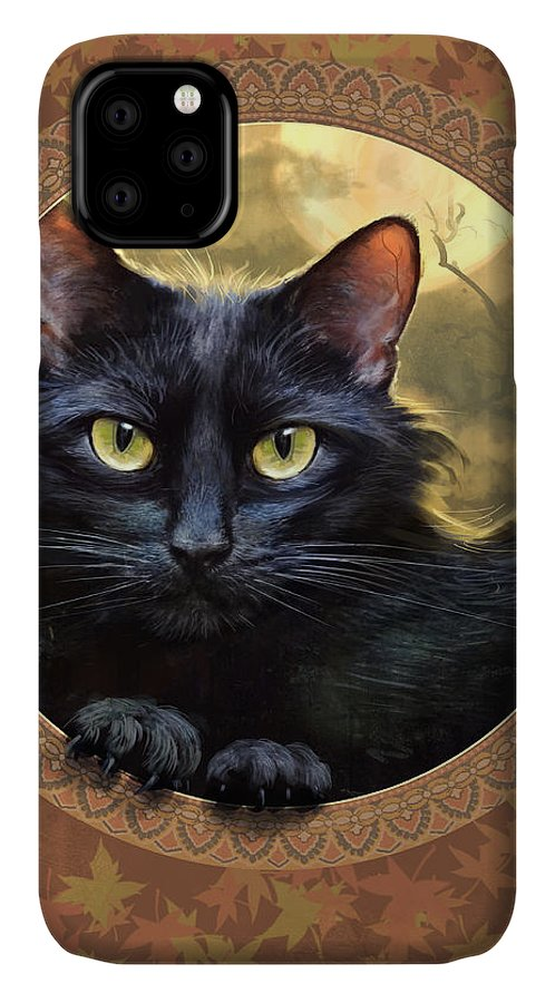 Black Cat Print IPhone Case featuring the painting Black Cat Autumn by Jeff Haynie