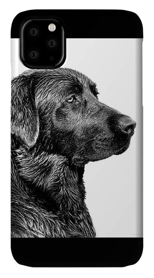 Labrador Retriever IPhone 11 Case featuring the photograph Black Labrador Retriever Dog Monochrome by Jennie Marie Schell