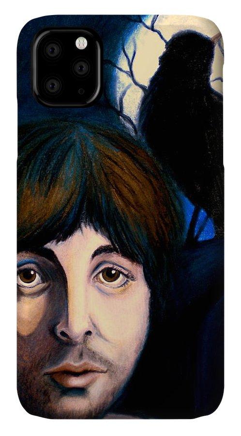 Paul Mccartney IPhone Case featuring the painting Blackbird by Debi Starr