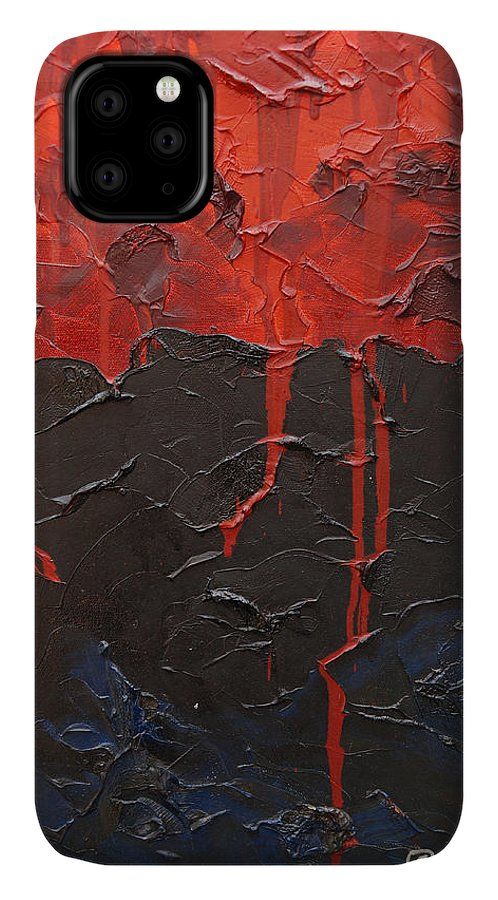 Fantasy IPhone Case featuring the painting Bleeding sky by Sergey Bezhinets