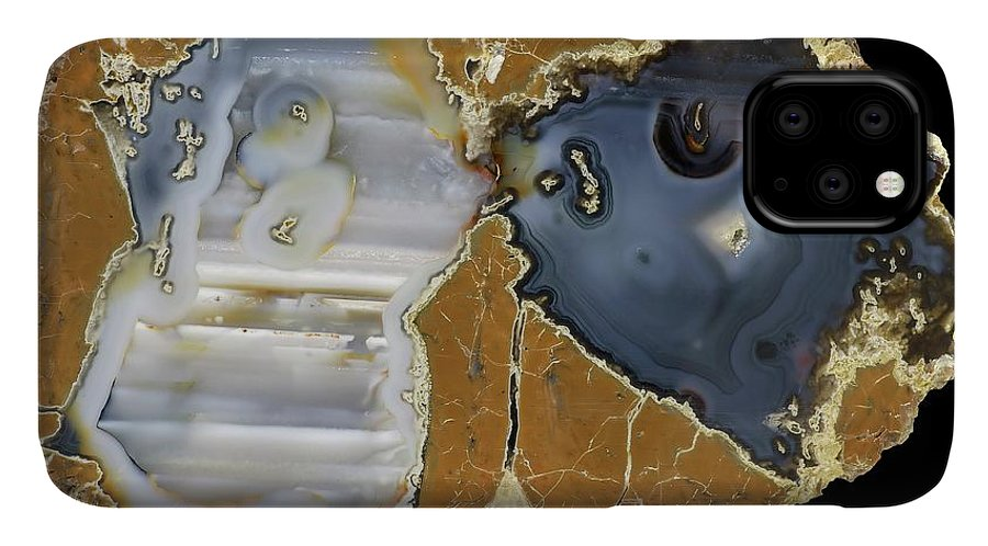 Agate IPhone Case featuring the photograph Blue Bed Thunder Egg Agate by Natural History Museum, London/science Photo Library