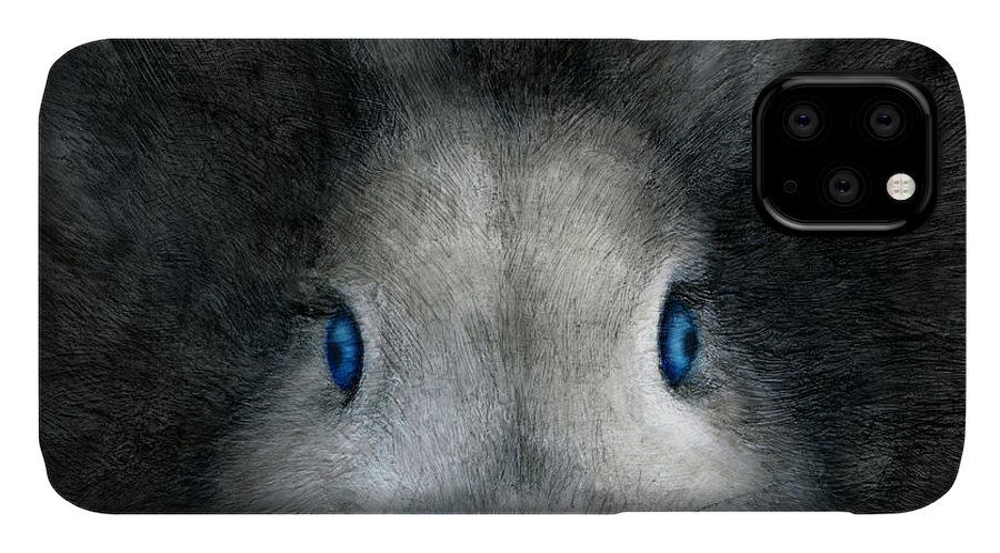 Rabbit IPhone Case featuring the drawing Blue Eyes by Penny Collins
