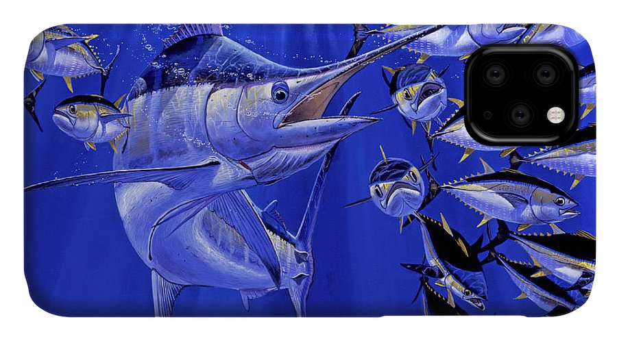 Blue Marlin IPhone 11 Case featuring the painting Blue Marlin Round Up Off0031 by Carey Chen