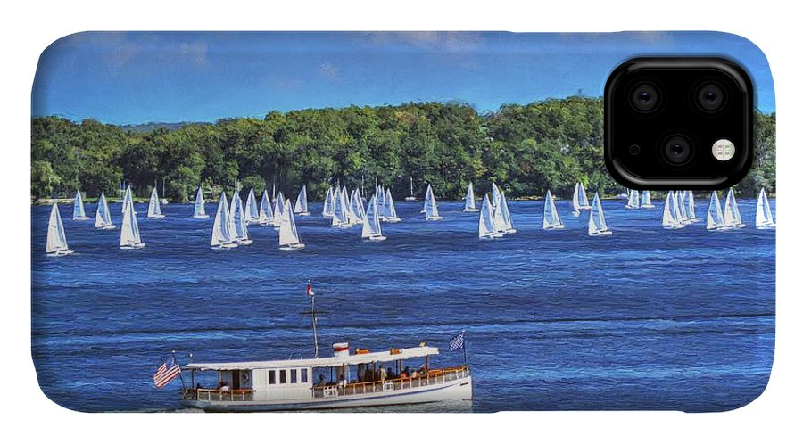 Buy IPhone Case featuring the painting Blue Morning Cruise - Lake Geneva Wisconsin by Ben Thompson