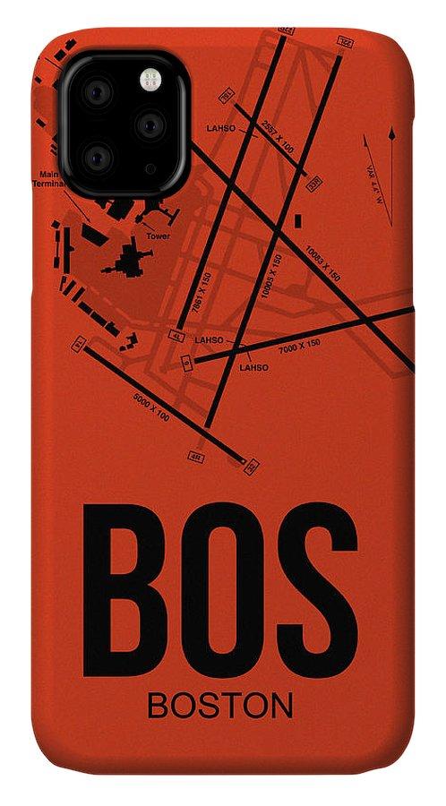 Boston IPhone 11 Case featuring the digital art Boston Airport Poster 2 by Naxart Studio