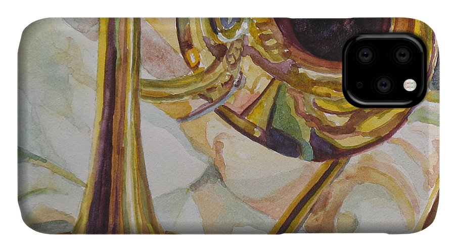 Trombone IPhone Case featuring the painting Brass At Rest by Jenny Armitage