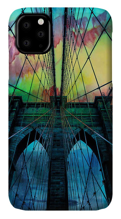 Brooklyn Bridge IPhone 11 Case featuring the digital art Psychedelic Skies by Az Jackson