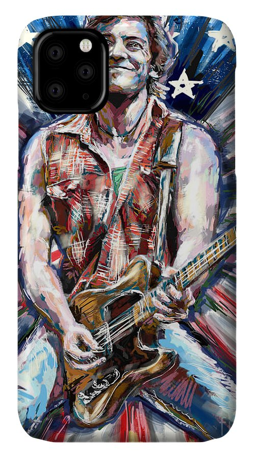 Usa Home Decor IPhone Case featuring the mixed media Bruce Springsteen Painting by Ryan Rock Artist