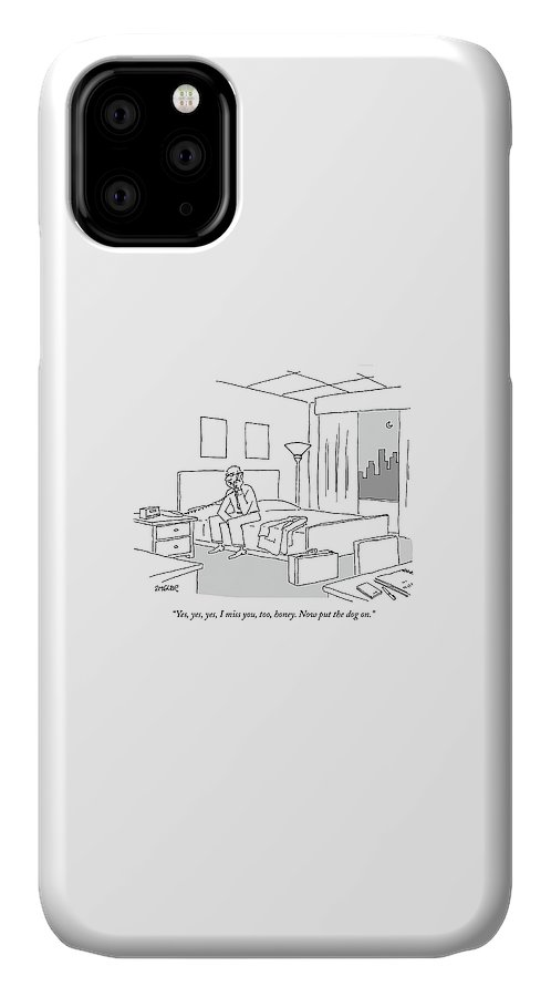 Relationships Pets Travel Problems  (businessman Sitting On A Bed In Hotel Room Talking On The Phone.) 121246 Jzi Jack Ziegler Topziegler IPhone Case featuring the drawing Businessman Sitting On A Bed In Hotel Room by Jack Ziegler