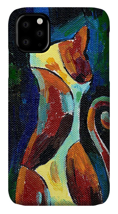 Calicocat IPhone Case featuring the painting Calico Cat Abstract In Moonlight by Genevieve Esson