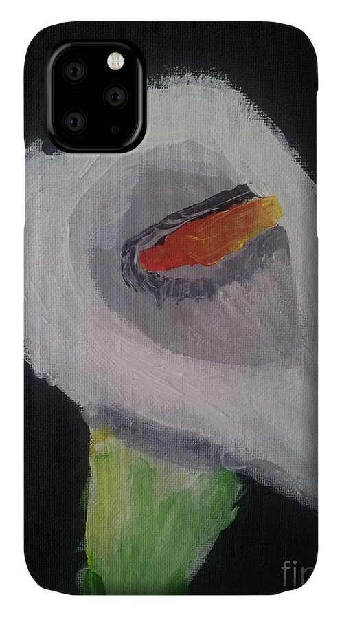 Flowers IPhone 11 Case featuring the painting Calla Lily by Epic Luis Art
