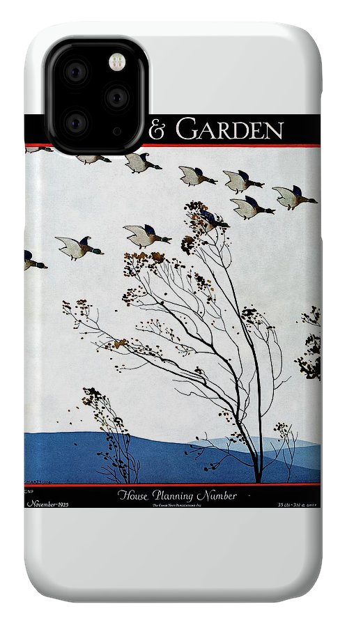 House And Garden IPhone Case featuring the photograph Canadian Geese Over Brown-leafed Trees by Andre E. Marty