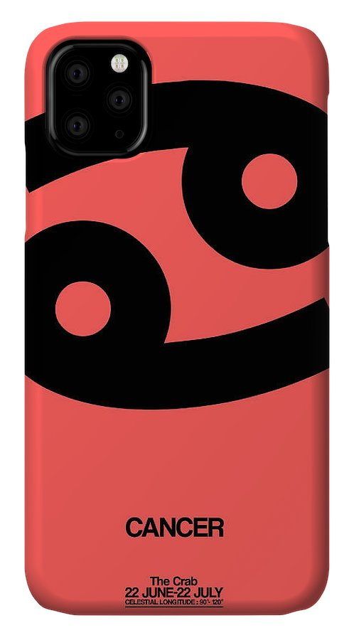 Cancer IPhone 11 Case featuring the digital art Cancer Zodiac Sign Black by Naxart Studio