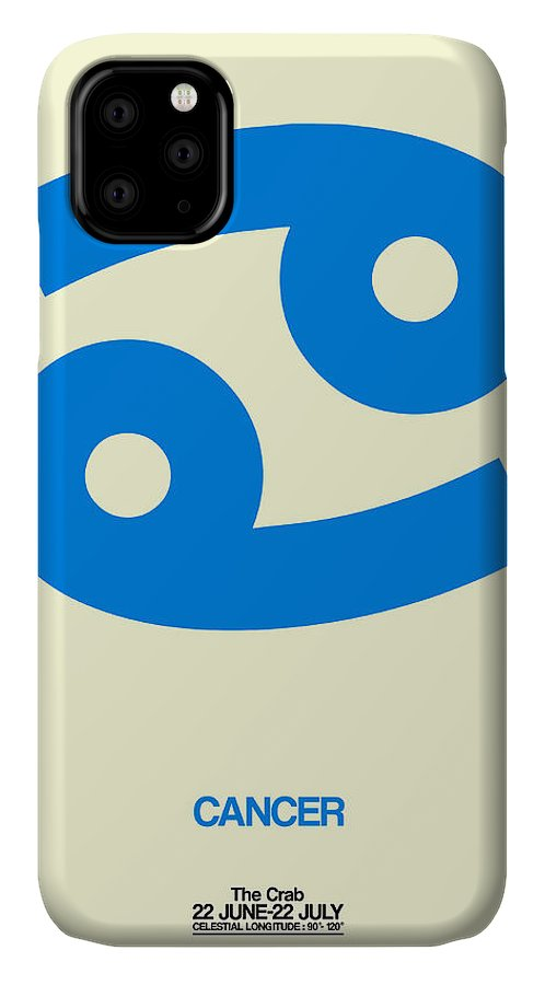 Cancer IPhone 11 Case featuring the digital art Cancer Zodiac Sign Blue by Naxart Studio