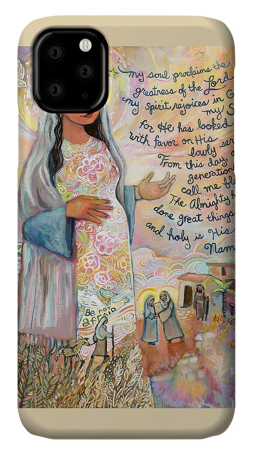 Jen Norton IPhone 11 Case featuring the painting Canticle Of Mary by Jen Norton