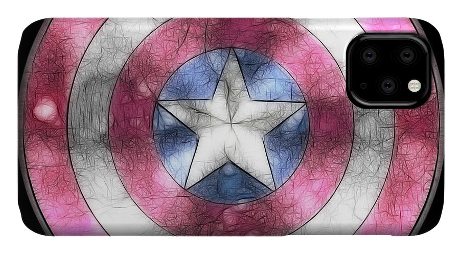 Captain America Digital IPhone Case featuring the painting Captain America Shield Digital Painting by Georgeta Blanaru