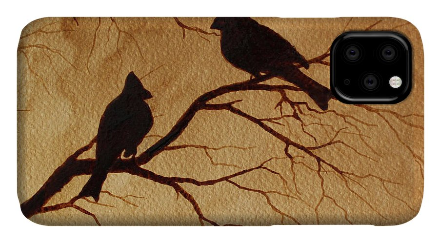 Cardinals Birds Coffee Art IPhone Case featuring the painting Cardinals Silhouettes Coffee Painting by Georgeta Blanaru