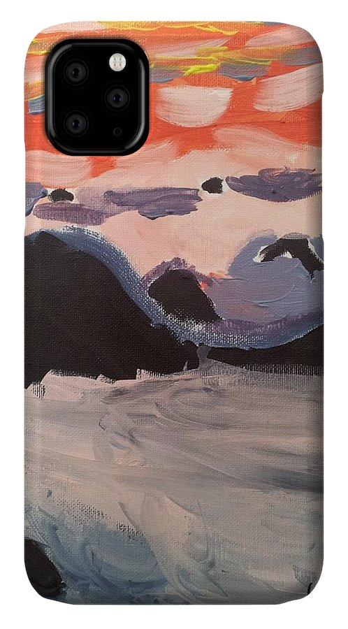 Caribbean Sunset IPhone 11 Case featuring the painting Caribbean Sunset by Epic Luis Art
