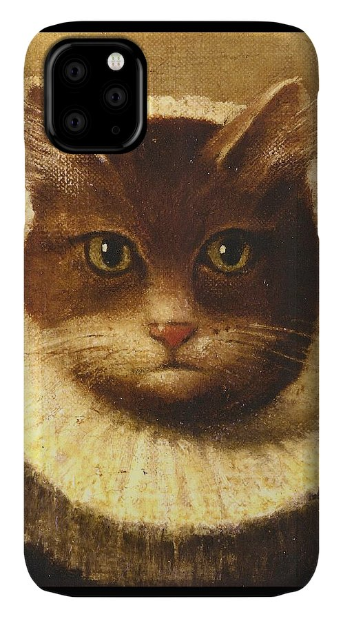 Vintage Art IPhone Case featuring the painting Cat In A Ruff by Vintage Art