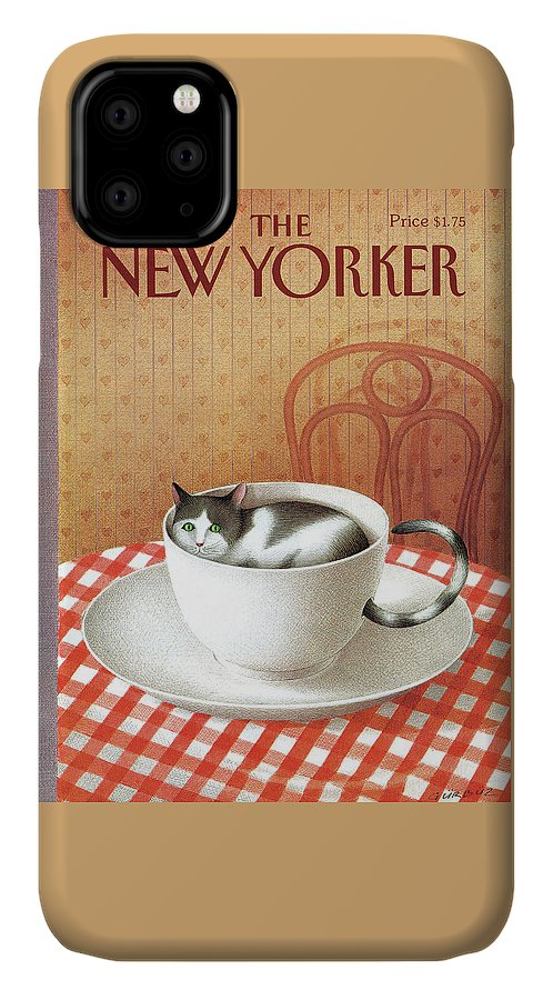 Cat IPhone 11 Case featuring the painting Cat Sits Inside A Coffee Cup by Gurbuz Dogan Eksioglu