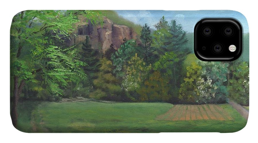 Cathedral Ledge IPhone Case featuring the painting Cathedral Ledge From Westside Road by Sharon E Allen