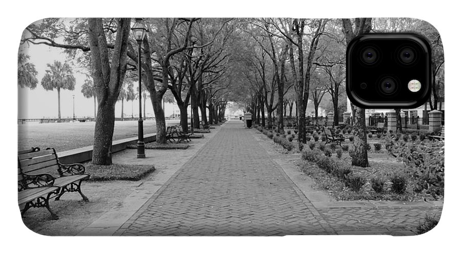 Charleston IPhone 11 Case featuring the photograph Charleston Waterfront Park Walkway - Black And White by Carol Groenen