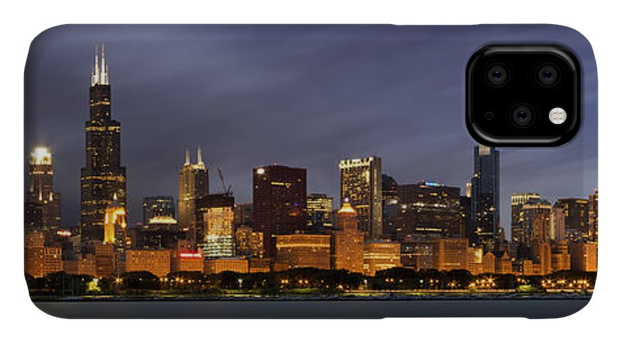 3scape IPhone 11 Case featuring the photograph Chicago Skyline At Night Color Panoramic by Adam Romanowicz