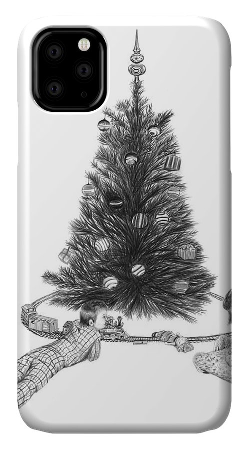 Christmas Cards Art IPhone Case featuring the drawing Christmas Morning Play by Peter Piatt
