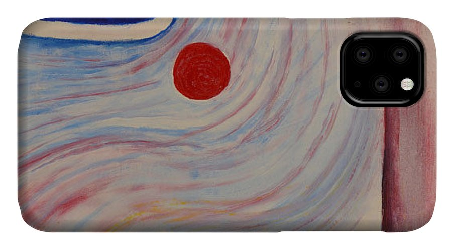 Abstract IPhone Case featuring the painting Circle and Corner by David Douthat