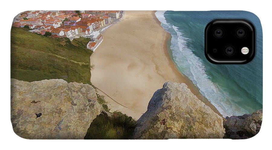Beach IPhone 11 Case featuring the photograph Cliff Of The Seaside Village Of Nazare by David Letts