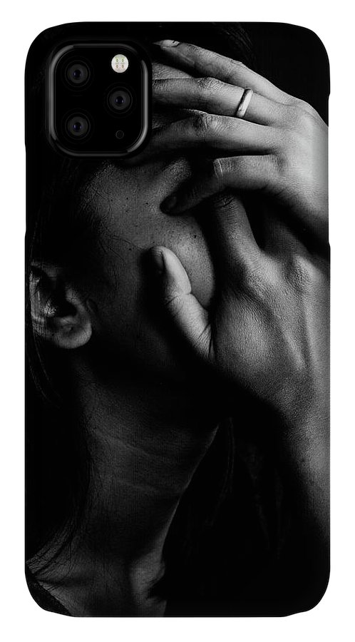 People IPhone 11 Case featuring the photograph Close-up Of Depressed Woman Against by Frank Arengh / Eyeem