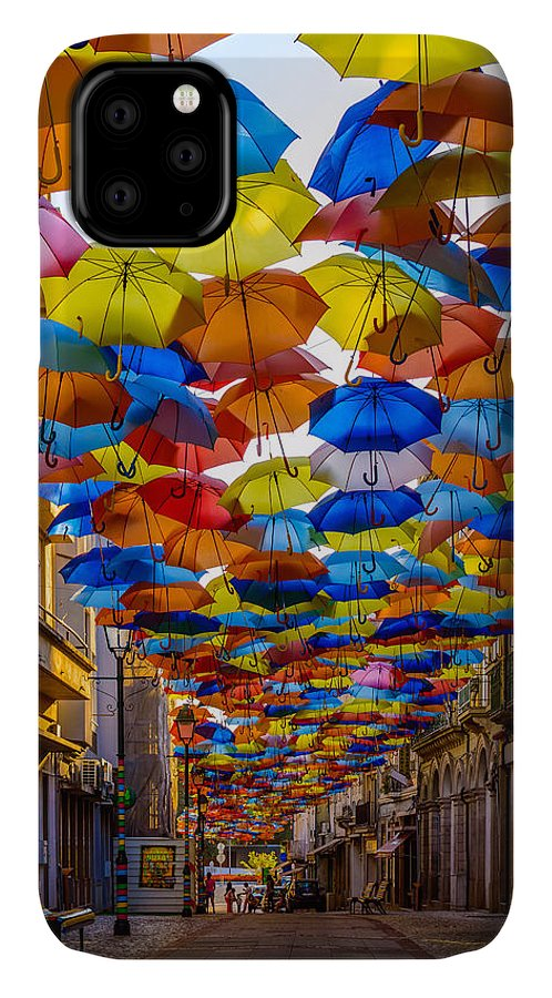 Colorful Floating Umbrellas IPhone Case featuring the photograph Colorful Floating Umbrellas by Marco Oliveira
