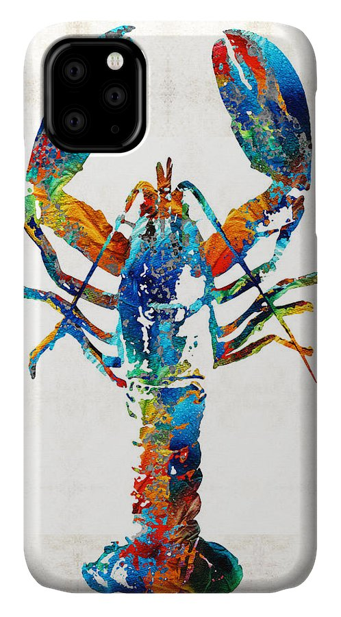 Lobster IPhone Case featuring the painting Colorful Lobster Art By Sharon Cummings by Sharon Cummings
