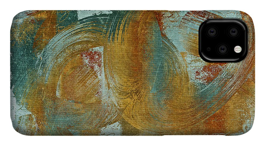 Abstract IPhone 11 Case featuring the digital art Composix 02a - V1t27b by Variance Collections