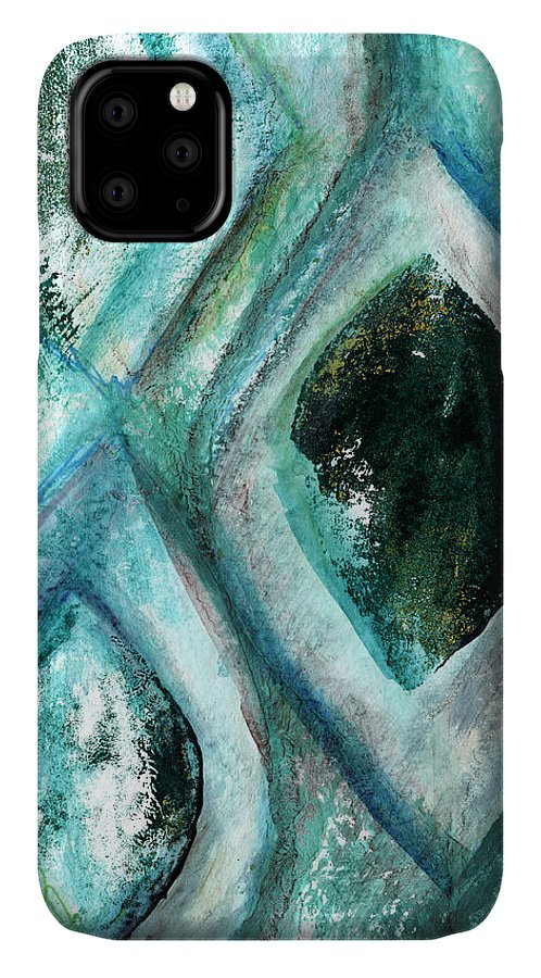 Contemporary Abstract Painting IPhone 11 Case featuring the painting Contemporary Abstract- Teal Drops by Linda Woods