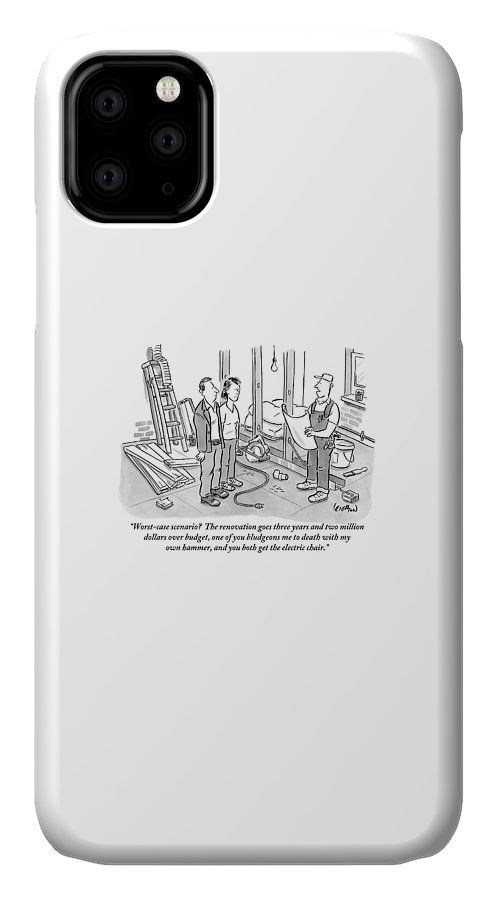 Renovation IPhone 11 Case featuring the drawing Contractor Examining A Blueprint And Speaking by Robert Leighton