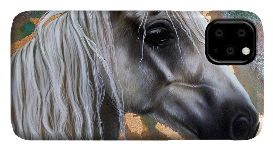 Copper IPhone Case featuring the painting Copper Horse by Sandi Baker