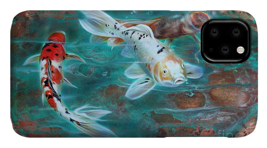 Copper IPhone Case featuring the painting Copper Koi by Sandi Baker