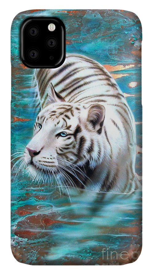 Copper IPhone Case featuring the painting Copper White Tiger by Sandi Baker