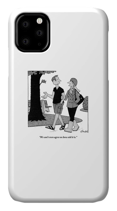 Fights-marital IPhone 11 Case featuring the drawing Couple Taking Walk by William Haefeli